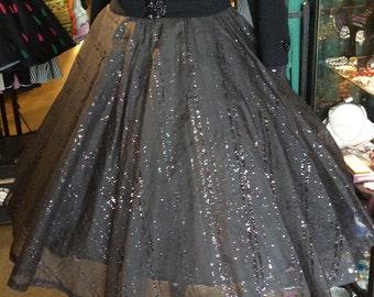 1950s Black Glitter Skirt Sheer Voile Large