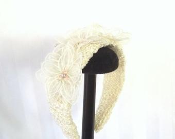 Clearance, Wedding Headband - Floral Hair Accessory - Hair Jewelry - Cream Hair Accent - Fancy Headband - Bridal Hair - Unique Hair Accent