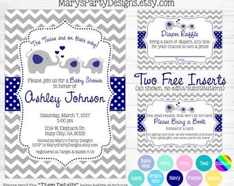 Elephant Twins Baby Shower Invitation - Navy Blue Teal Aqua Boy Girl Neutral Chevron Gray Diaper Raffle Ticket Book Request Card Digital