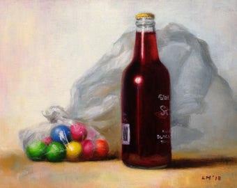 "Original Oil Painting titled ""Black Cherry Soda"""