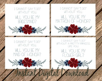 DUSTY BLUE Wedding Proposal Burgundy Will You Be My Flower Girl  Invitation Set Maid of Honor Bridesmaid Wedding Printable 5 JPG Files
