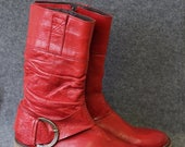 SPRING SALE Vintage bright red distressed leather mid calf boots Size 37