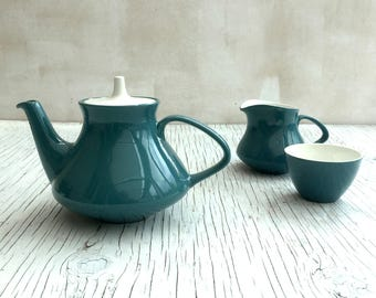 Vintage Poole Two-tone Teal Tea pot, milk jug and sugar bowl set. Mid Century design, circa 1960s.