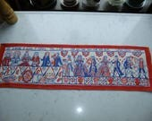 Vintage Swedish printed linen tapestry - Wedding in the land of Canaan