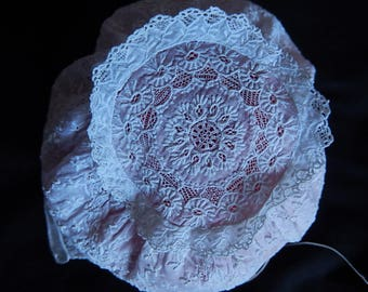 Antique gorgeous white work cotton lawn baby bonnet all handworked Ayrshire early 19th century baby/doll clothes