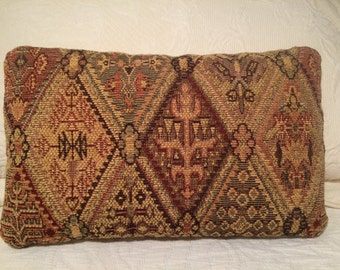 Tapestry Pillow, Lumbar Pillow, Southwest Pillow, Old-World Style, Renaissance Style, Tapestry Cushion, Throw Pillow, Accent Pillow