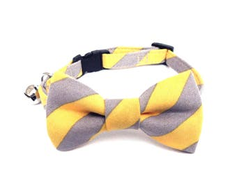 Cat / Small Dog Bow Tie Collar, Yellow Gray Stripes