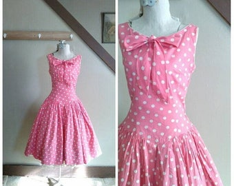 20% OFF / Sweet as Bubblegum 1950s Pink & White Polka Dot Dropped Waist Dress with Bow Detail