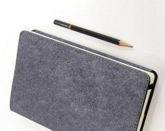 Large Kraft-tex Leather Alternative Moleskine Notebook Cover - Heather Gray - Fits Large Moleskine 5 x 8.25 inch Hardcover Notebooks