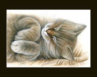 Tabby Cat Print Softie by Irina Garmashova