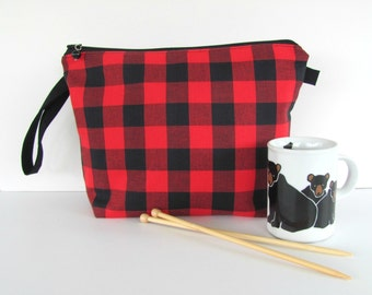 Buffalo Plaid knitting project bag, Knitting bag, Knitters gift, Black Red plaid Cosmetic bag - Small or Medium size zipper pouch