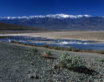 Death Valley Panamints Reflected in the Pool at Badwater California Inyo County Travel Photography, Original 5x7 signed matted photograph