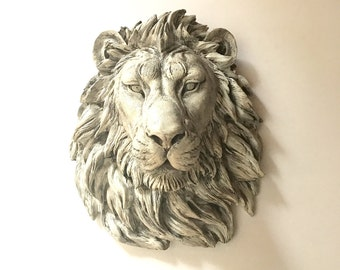 FAUX AGED/Antique White Finish Large Faux Taxidermy Lion Head wall mount wall hanging / hand painted Please allow 2-3 WEEKS before ship out