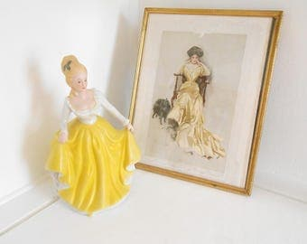 Yellow Dress Lady in Ball Gown Ceramic Figurine made in Taiwan / Beauty and the Beast