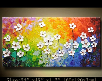 contemporary wall art,Palette Knife Painting,colorful Landscape painting,wall decor,Home Decor,Acrylic Textured Painting ON Canvas Chen 1119