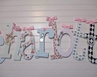 "CHARLOTTE- 12.00 per letter 8-1/2"", girl nursery, lowercase letters, Alice in Wonderland nursery, clocks, white queen, red queen, mad hatter"