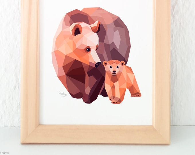 Bear and baby print, Mother bear, Baby bear, Grizzly bear illustration, American wildlife art, Geometric bear, Mother and child nursery art
