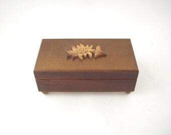 Vintage Swiss Handcarved Wood Music Box,  Jewelry Holder, Switzerland Bollina-Schneider Gifts