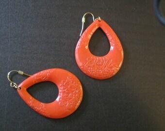 Coral Plastic Vintage Earrings