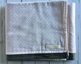 Pink and Grey Baby Blanket | Geometric Baby Blanket