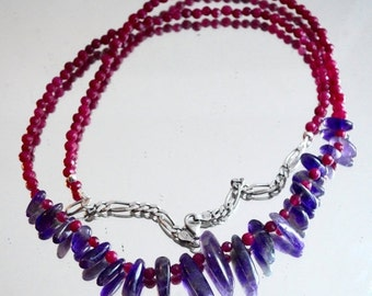 "SALE 60% OFF Amethyst Ruby Gemstone Fringe Necklace Solid Sterling Silver 925 .925 Tribal Beaded Bullet 28"" long Boho Hippie Statement Hipst"