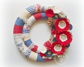 Double Wrapped Fabric Felt Lace Patriotic Wreath 4th of July, July 4th, Independence Day Decor, Home Decor, Red White Blue, Felt Flowers
