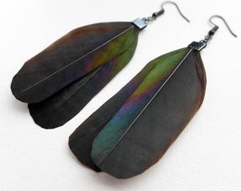 Feather Dangle Earrings, Magpie Feather Earrings, Festival Fashion