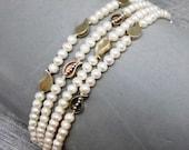 White Pearl Bracelet with Stylized Silver Leaves, 4 Strand Bracelet, Festive, Elegant, Bridal, Wedding, OOAK
