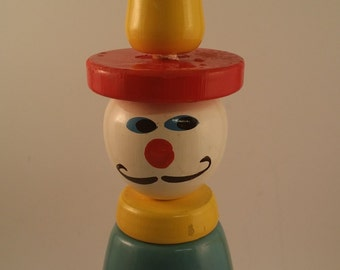 Vintage French Clown Toy with Mustache -- Wood Bowling or Skittle Pin, Nursery, Child's or Play Room Decor -- Red, White, Blue and Yellow
