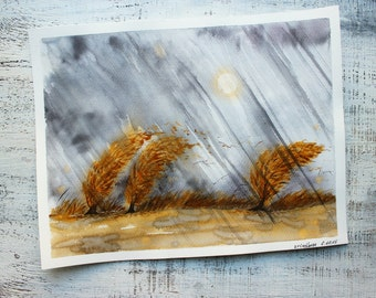 Stormy day autumn fall landscape original watercolor painting 11x14 rainy