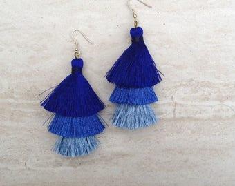 Silk Tassel Tiered Earrings Blue Ombre Combo Tassle Earrings Festival Tassel Earrings Tassle Earings BOHO Earrings Summer Jewelry