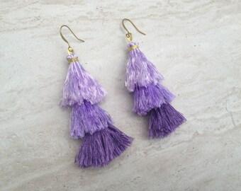 Raw Silk Tassel Earrings Purple Ombre Tassle Earrings Summer Jewelry