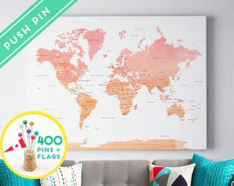 Push Pin World Map Canvas Watercolor Pink Orange - Ready to Hang - 240 Pins + 198 World Flag Sticker Pack Included