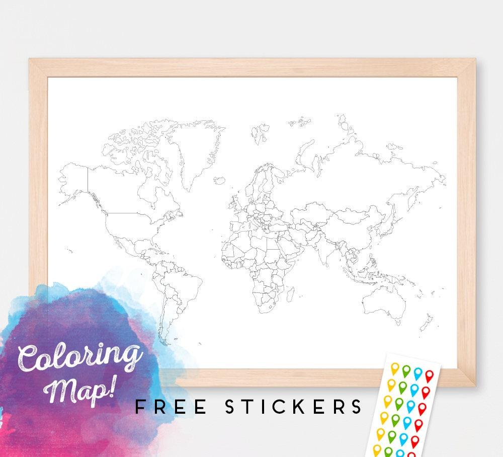 Mapa del mundo para colorear En blanco mapa mundo mapamundi