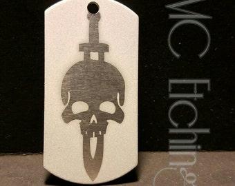 Skull & Dagger etched dog tag