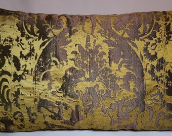 Lumbar Throw Pillow Cushion Cover Gold & Bronze Jacquard Rubelli Fabric Gritti Pattern  - Handmade in Italy
