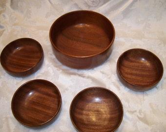 Salad Bowl Set of Five made of African Mahogany