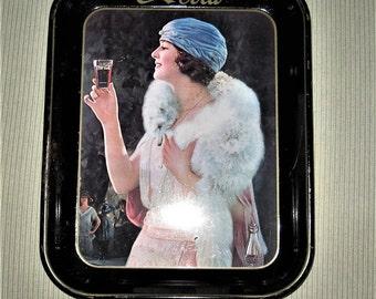 Vintage Coca Cola Tray - 1970's Replica of 1920's Woman Coca Cola Tray - Rectangle Coca Cola Tray - 1920's Woman Coca Cola Tray