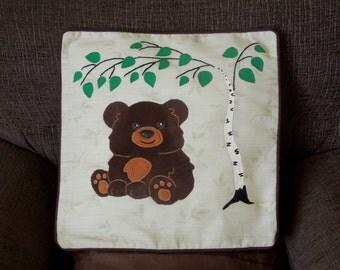 "SALE: Bear pillow, cushion cover ""Little Bear under the Tree"" handmade, applique, animal"