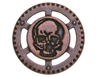 3 Dill Steampunk Skull 7/8 inch ( 23 mm ) Metal Buttons Antique Copper Finish