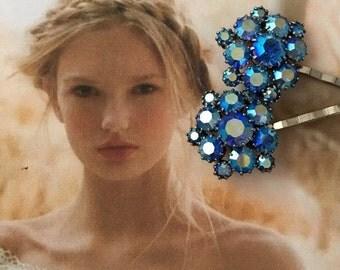 HOLIDAY SAVINGS Decorative Hair Pins Bridal Jewelry Vintage 1950's Blue Weiss AB Aurora Borealis Rhinestone Bobby Hairpins