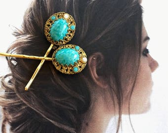Decorative Hair Pins Jewelry 1940's Bridal Renaissance Turquoise Aqua Blue Filigree Hairpins Bobby Pins
