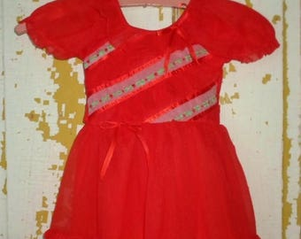 ON SALE Little Girls Dress Nylon Bright Red With Ruffles And Flower Embroidery, Size 3 or 4, Vintage, 3 Layered Skirt, Short Sleeve Summer D