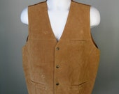 Mens Leather Vest / Vtg 9...