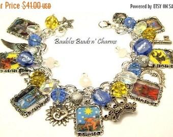 ON SALE Tarot Cards Charm Bracelet, Fortune Teller Charm Bracelet, Photo Charm Bracelet, Picture Charm Bracelet