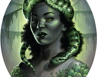 Ophidia Snake Woman Illustration 8x10