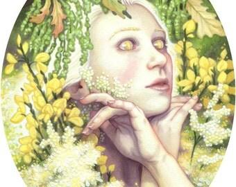 Blodeuwedd Flower Maiden Illustration 8x10