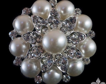 Pearl Brooch - Pearl and Rhinestone Brooch - Brooch Pin - Pearl and Crystal Brooch - Pearl Brooch- Bridal Sash Brooch
