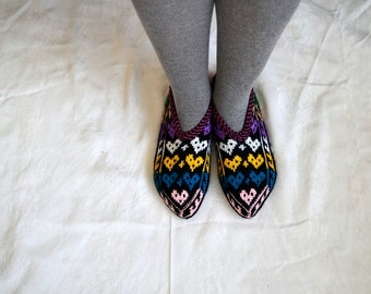 knit slippers, love heart Turkish Knitted Socks Slippers, women woman slippers, knitted home shoes, gift for woman house shoes