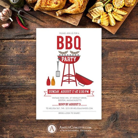 printable bbq party invitation summer barbecue invitation